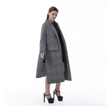 Grey striped cashmere winter coat