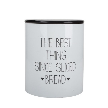 Round White Enamel Bread Box