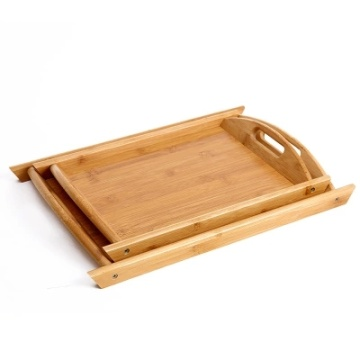 Rectangle Bamboo serving tray with Handles Trays for Coffee Tea Eating