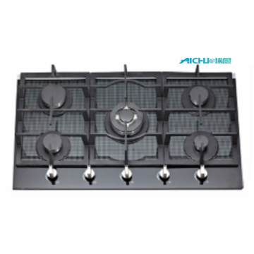 5 Burners Built In Grey Glass Gas Hob