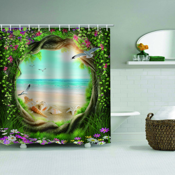 Tree Hole Flowers Waterproof Shower Curtain Sea Beach Conch Decor