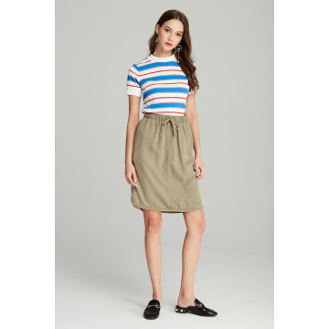 casual tencel mid length A shape women's skirt