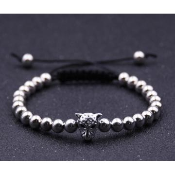 Lion Head Hematite 6MM Round Beads Bracelet For Men