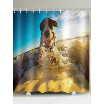Surfing Dog Digital Printing Waterproof Shower Curtain