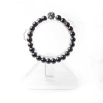 Hematite 8MM Bead Lion-Head Gemstone Bracelet