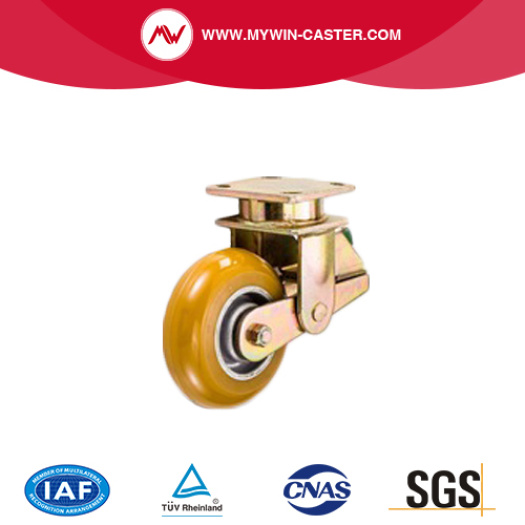 6 inch yellow dichromate plated high load swivel PU shock absorber caster