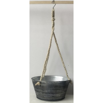Hemp rope hanging flower bucket