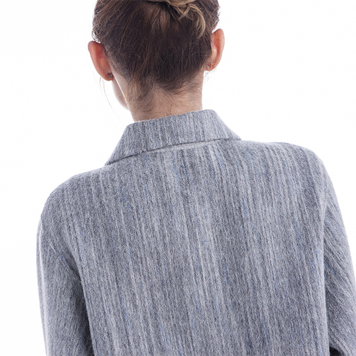 Back collar of fashionable light grey cashmere overcoat