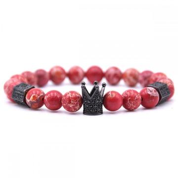 Natural Black Agate Lava Matt Stone Beads Bracelet