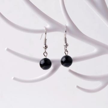 Black Onyx Round 8mm Natural Stone Earrings