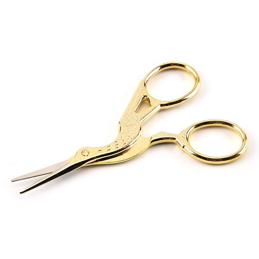 Retro cut embroidery stork stainless steel gilt beauty crane scissors