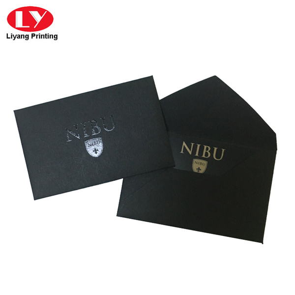 Custom small black envelope with uv logo