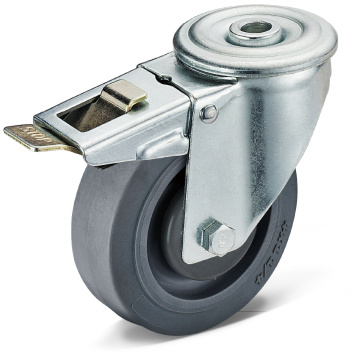 13 Series TPR Bolt Hole Double Brake Casters