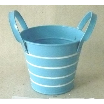 Blue and white stamped stripe metal barrel