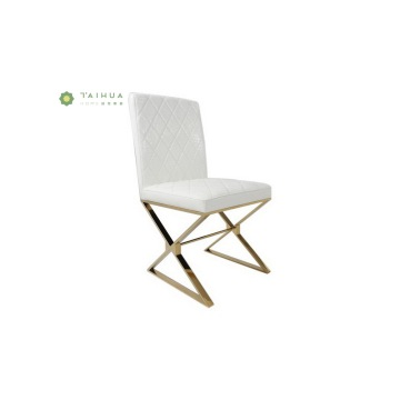 Chair with High Glossy Metal Frame PU Cushion