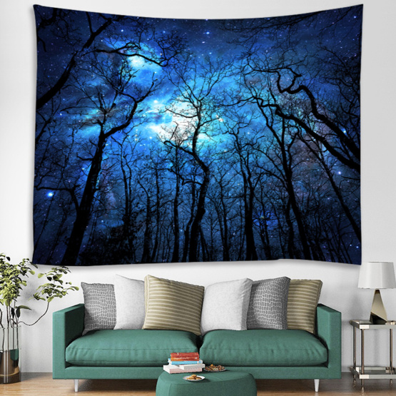 Starry Tapestry Galaxy Tapestry Night Sky Wall Hanging Forest Tapestry Tree Tapestry 3D Printing Wall Art for Living Room Bedroo