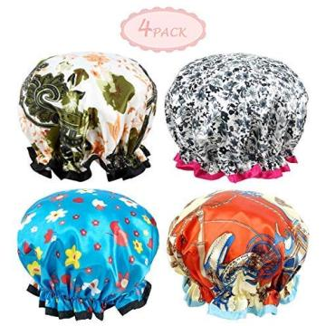 LADES 4 Pcs Pattern Shower Cap