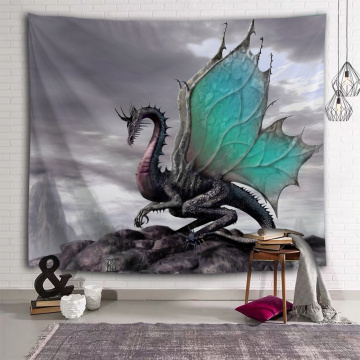 Dinosaur Tapestry Wall Hanging Wild Anicient Pterosaur Blue Wings Wall Tapestry for Children Bedroom Living Room Dorm Home Decor