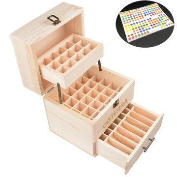 Wooden Storage Case Holds 10ml/15ml 59 Bottles Natural Pine Wood Essential Oil Box