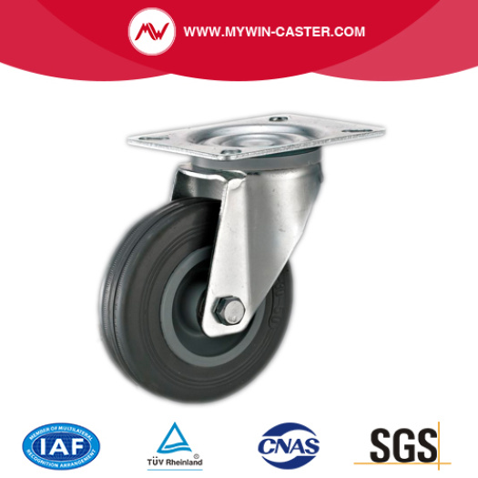 Braked Bolt Hole Swivel Gray Rubber Industrial Casters