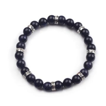 8mm Fashion 24 Blue Goldstone Beads Elastic Bracelet Bangle Jewelry Making Hand