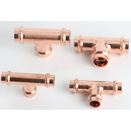 Copper V-profile press fitting for gas