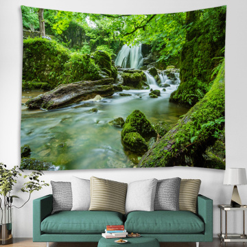 Forest Tapestry Trees River Wall Hanging Nature Style 3D Print Tapestry for Livingroom Bedroom Home Dorm Decor