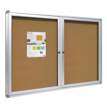 School Lockable open doors notice board with keys