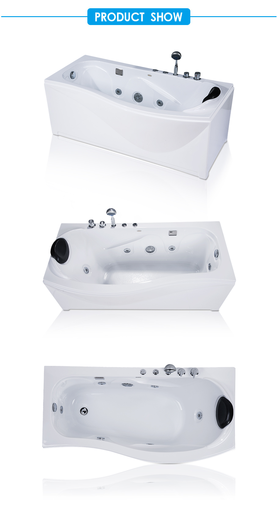 New Town White Acrylic Tub with Whirlpool