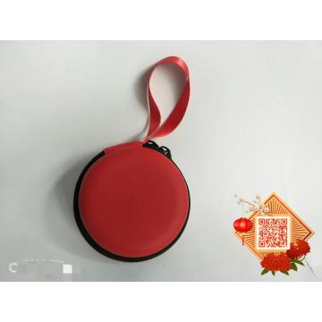 Mini Portable EVA Earbud Case Round Red Zipper Storage Organizer Case with Wrist Strap