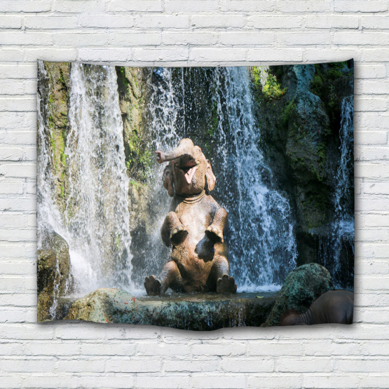 Smile Bathing Elephant Tapestry Waterfall Animal Wall Hanging Nature Tapestry for Livingroom Bedroom Home Dorm Decor