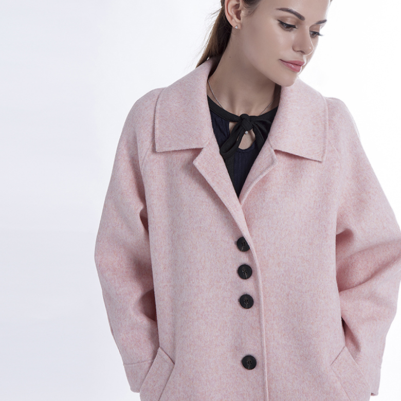 Pink single breasted Cashmere winter Coat