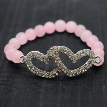 Rose Quartz 8MM Round Beads Stretch Gemstone Bracelet with Diamante Double heart Piece