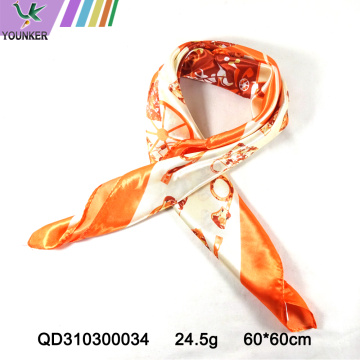 ORANGE PRINTING SATIN SCARF