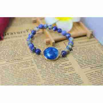 Sodalite Bracelet with Agate Pendant Piece Gemstone jewelry
