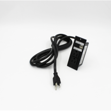 Black Recessed Power Outlet with 2 Sockets