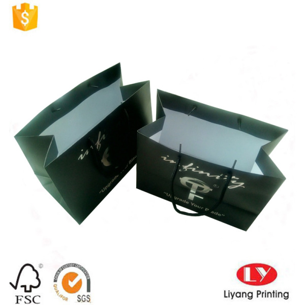 Custom made black prnted paper packaging bag