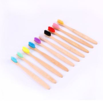 100% Biodegradable Natural Colorful  Bamboo Toothbrushes