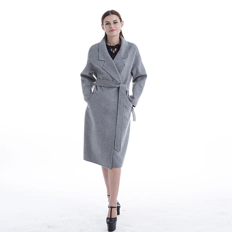 Long grey 100% pure cashmere coat