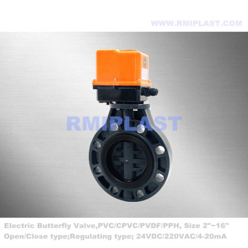 PVC Butterfly Valve Electric Actuated For Fishing Farm