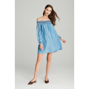 off shoulder fashion smocking ladies denim tencel dress