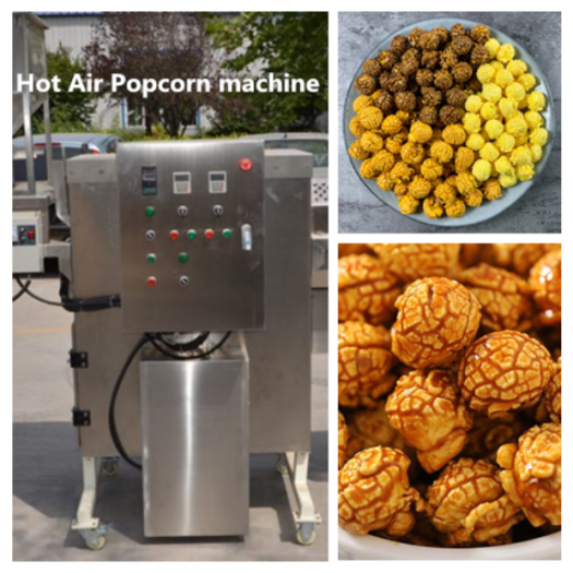 Hot air popcorn maker for industrial use
