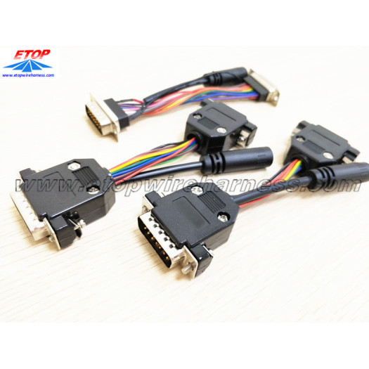 D-sub to DC cable assemblies