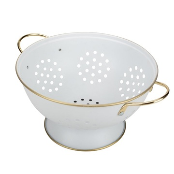 Coated In Durable White Enamel Colander Metal