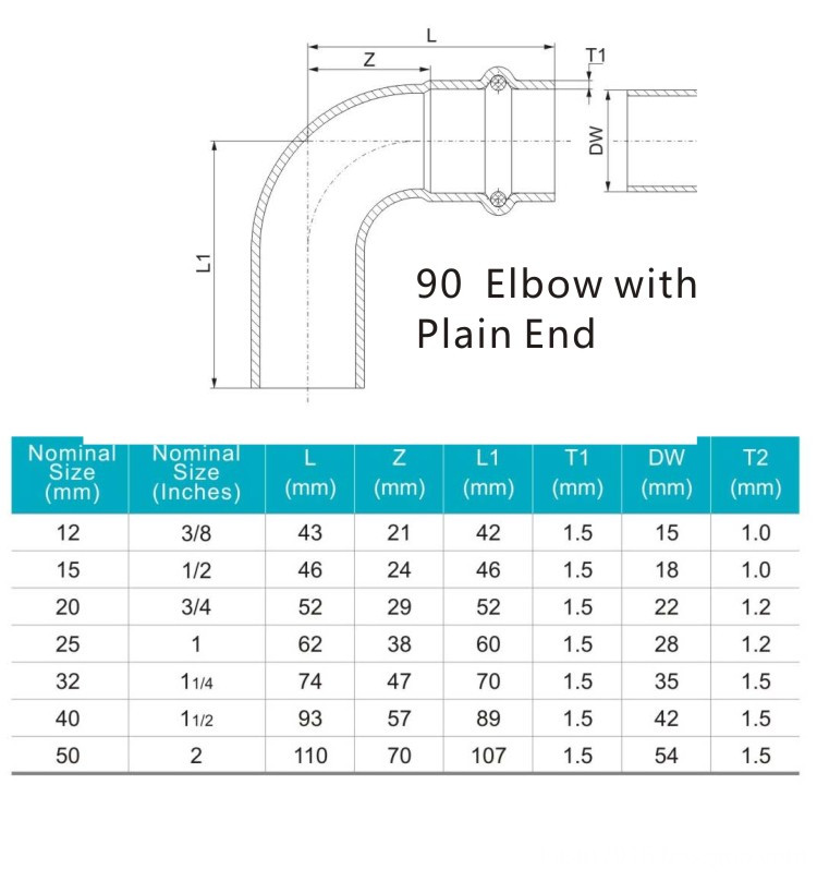 90 elbow with plain end
