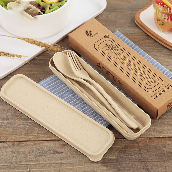 Eco friendly Wheat Straw Cutlery Plastic Flatware Set