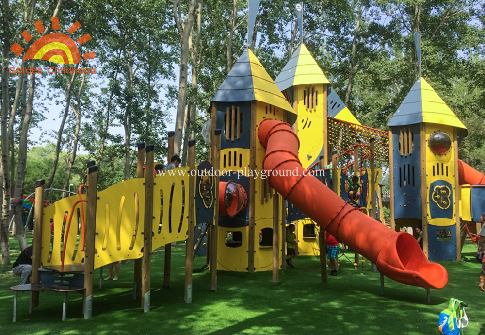 Hplmutiplay Outdoor Activity Tower Tube Silde Playground For Kids