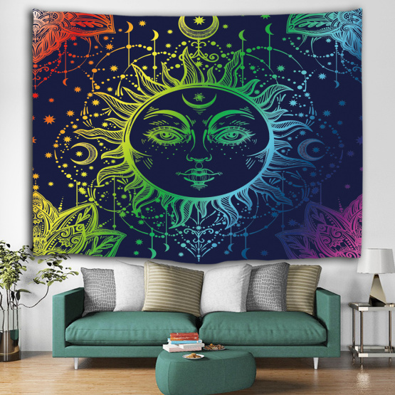 Sun Face Colorful Tapestry Mandala Wall Hanging Indian Hippie Bohemian Psychedelic Mystic Tapestry Home Decro