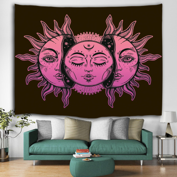 Sun and Moon Face Tapestry Mandala Wall Hanging Indian Hippie Bohemian Psychedelic Mystic Tapestry
