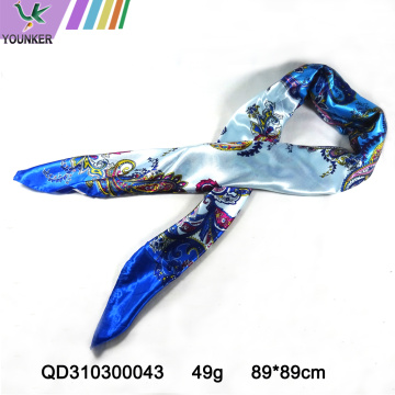 BLUE FLOWER SATIN SCARF